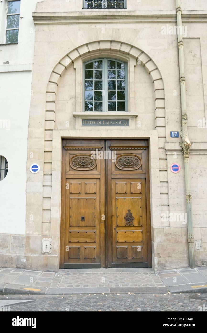 Hôtel de Lauzun, Hôtel de Pimodan, main door, Paris - Stock Image