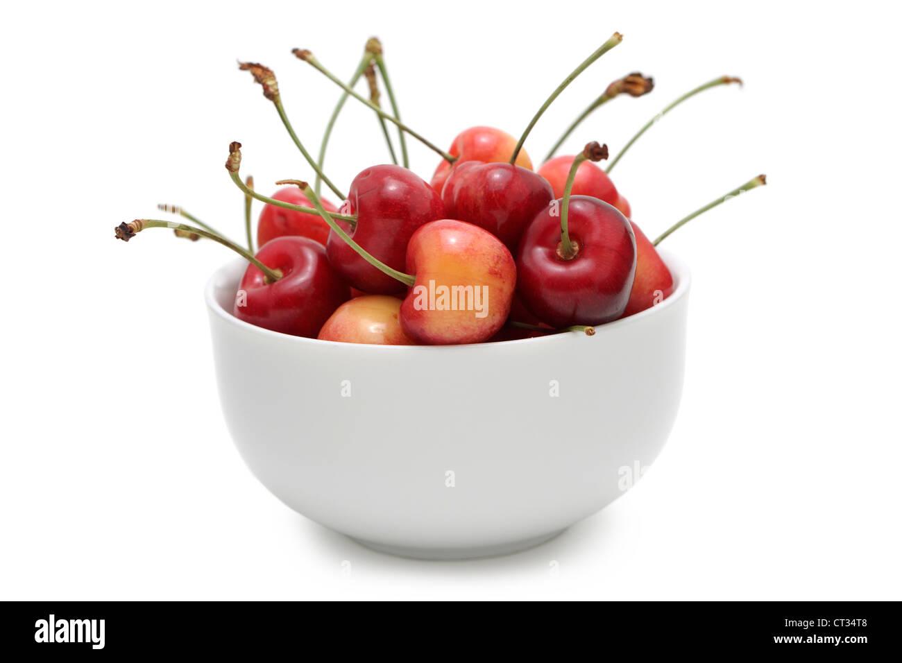Cherries in a Bowl, Bowl of Rainier Cherries - Stock Image