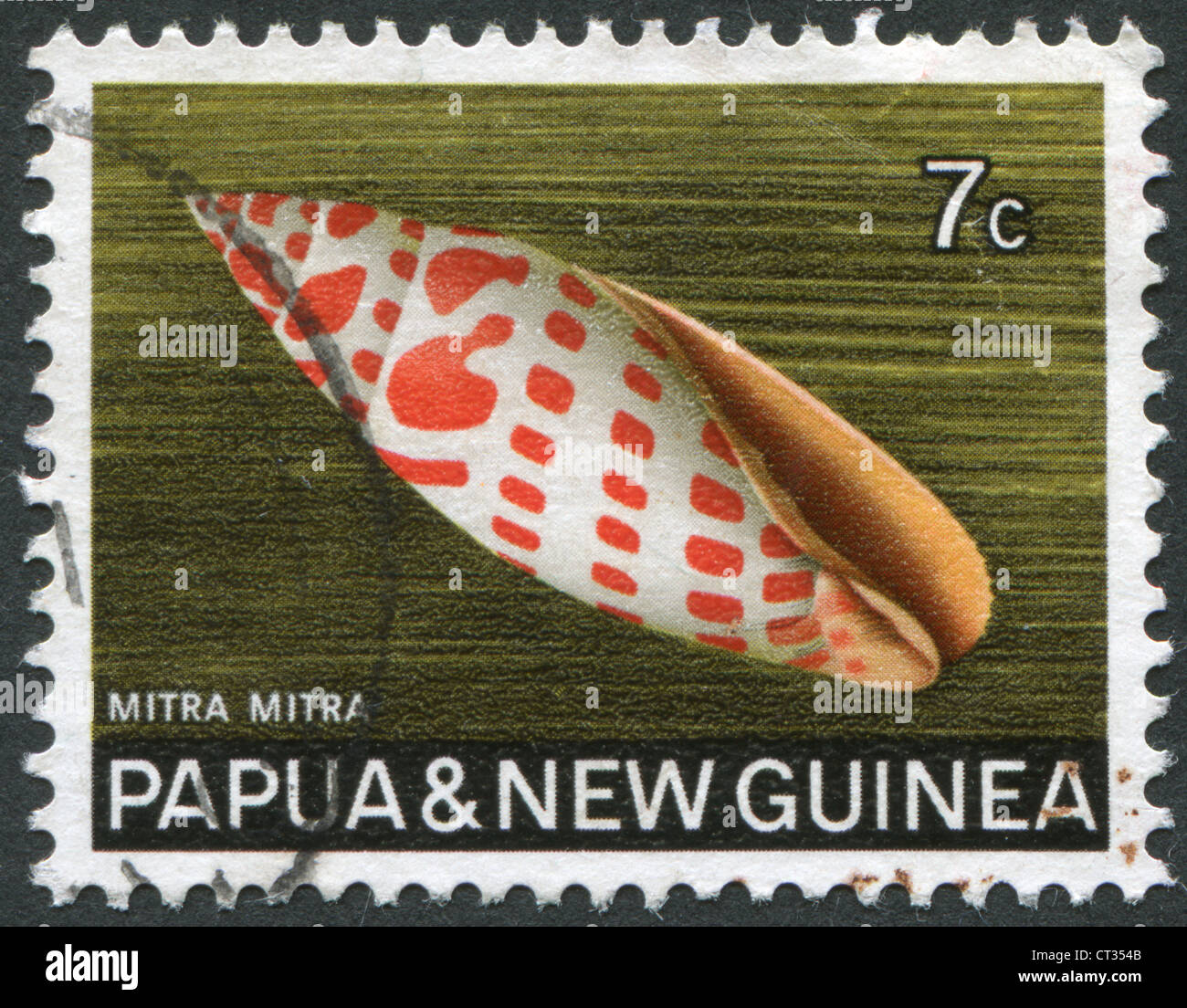 Postage stamps printed in Papua New Guinea, is depicted shell Mitra mitra (Episcopal miter), circa 1969 Stock Photo