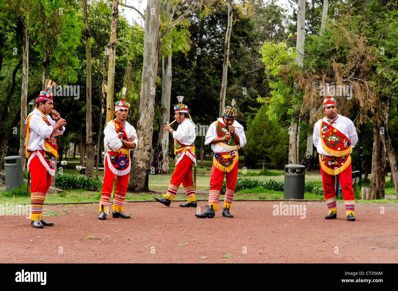 Papantla flyers outside the National Anthropology museum in Mexico City Mexico Central America - Stock Image