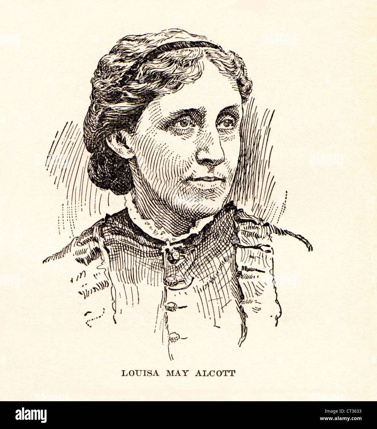 Vintage engraving of Louisa May Alcott,1832-1888, American author. - Stock Image