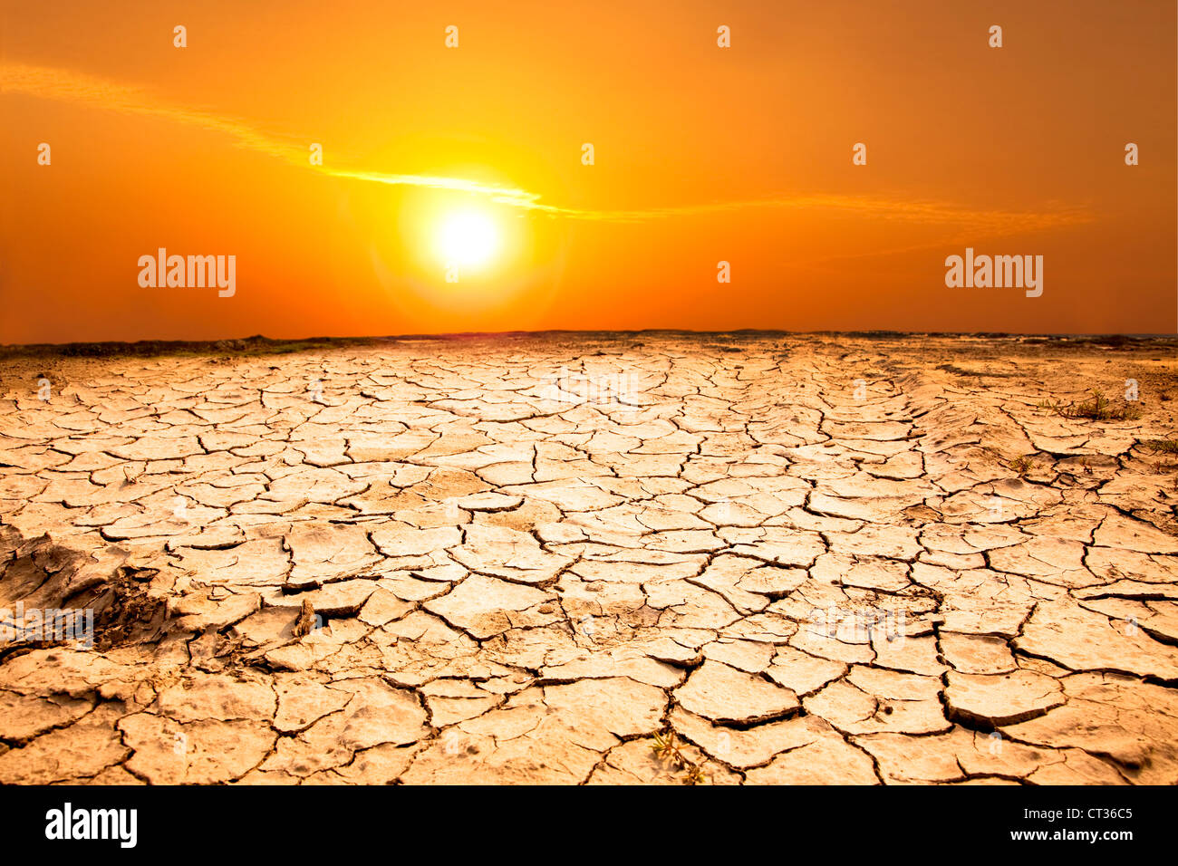 drought land and hot weather - Stock Image