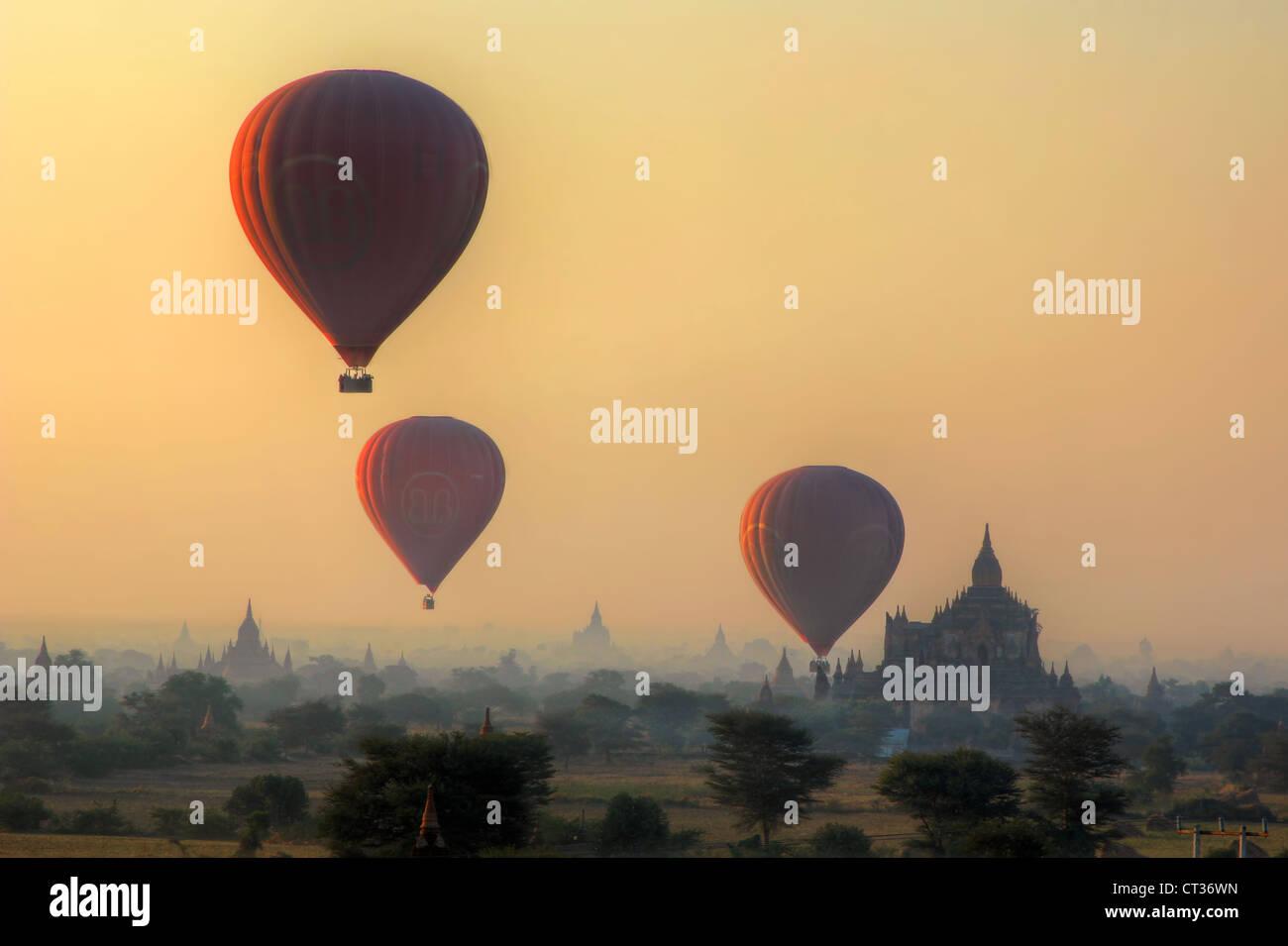 Balloons over Bagan (Pagan)   Myanmar (Burma) Stock Photo