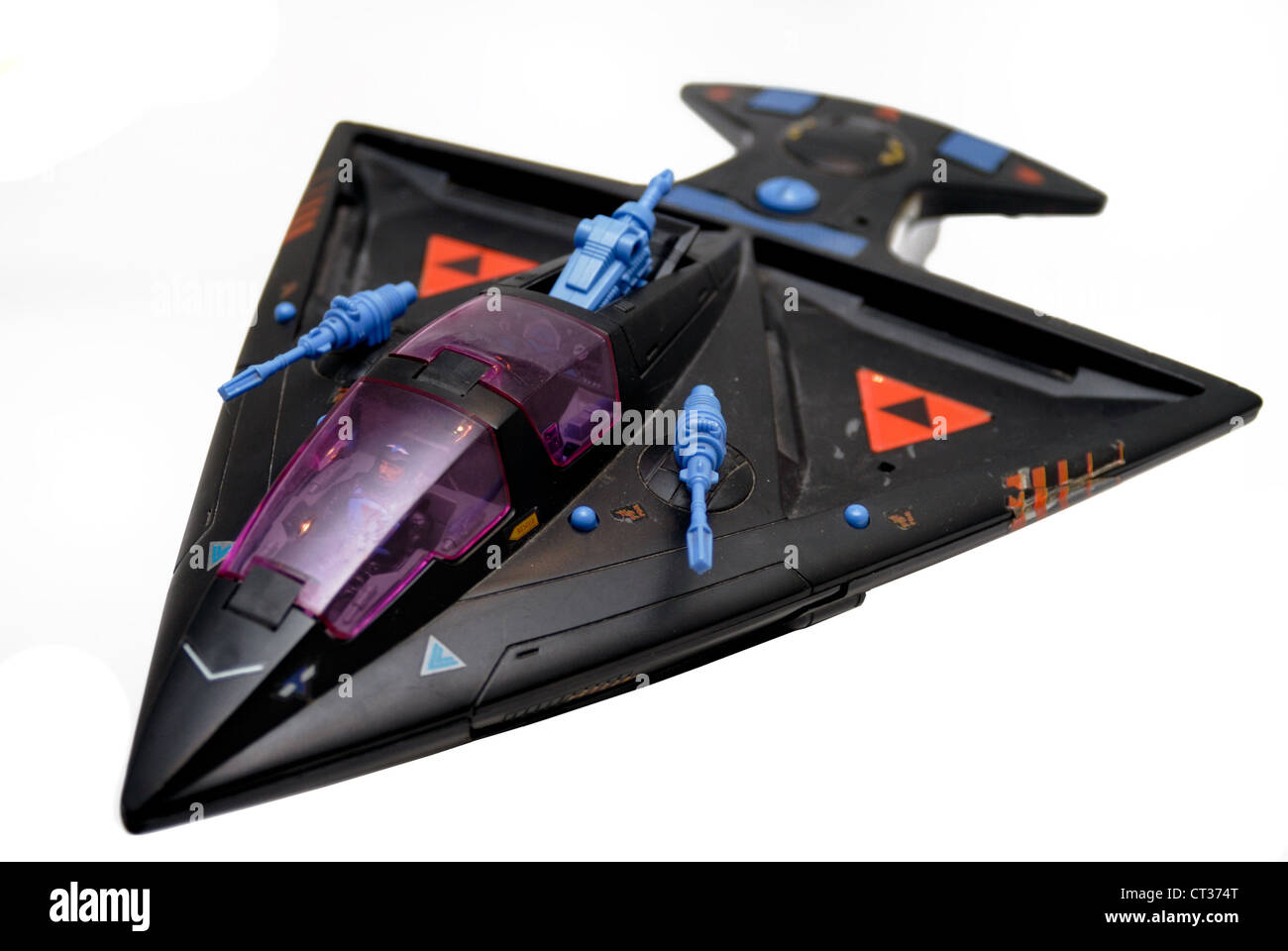 Starcom vintage space toy, airplane, plane or spaceship with guns. - Stock Image