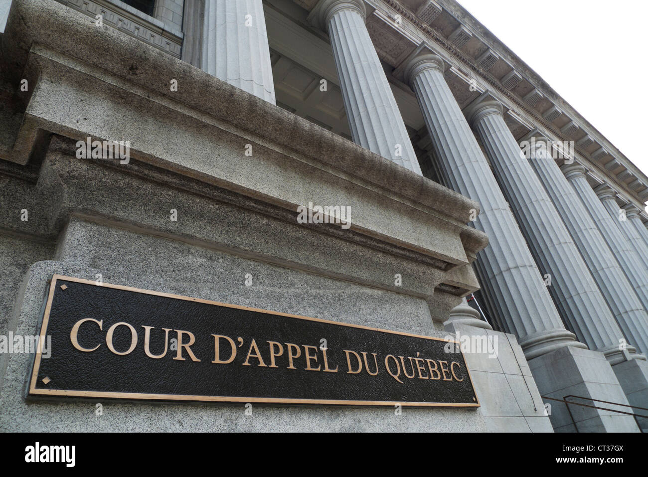 Court of Appeal of Quebec Cour D'Appel du Quebec sign on exterior of Canadian court building with columns Montreal - Stock Image