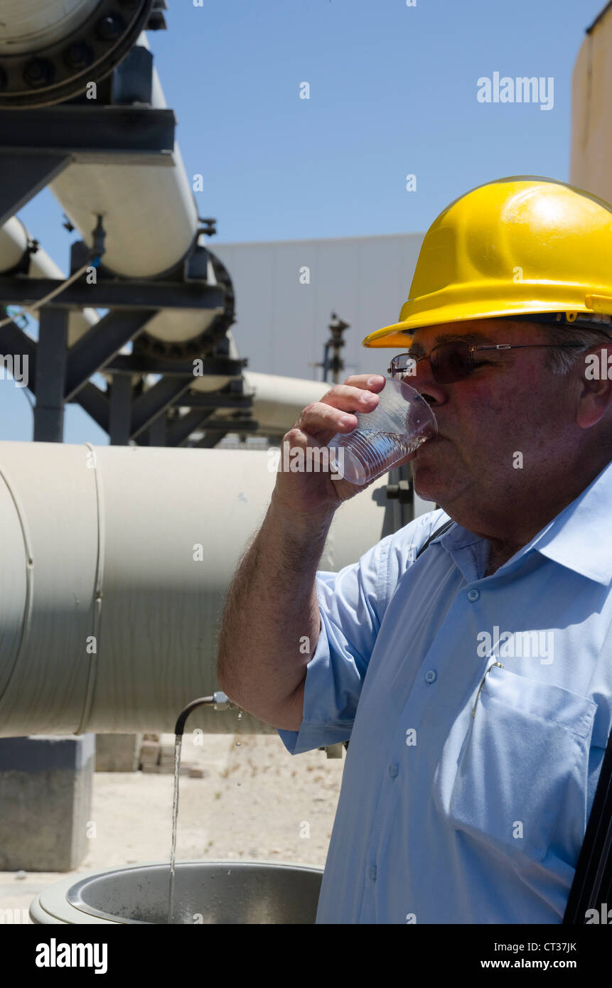 Visit in the IDE and Veolia Sea Water Reverse Osmosis Desalination Plant of Ashkelon, Israel - Stock Image