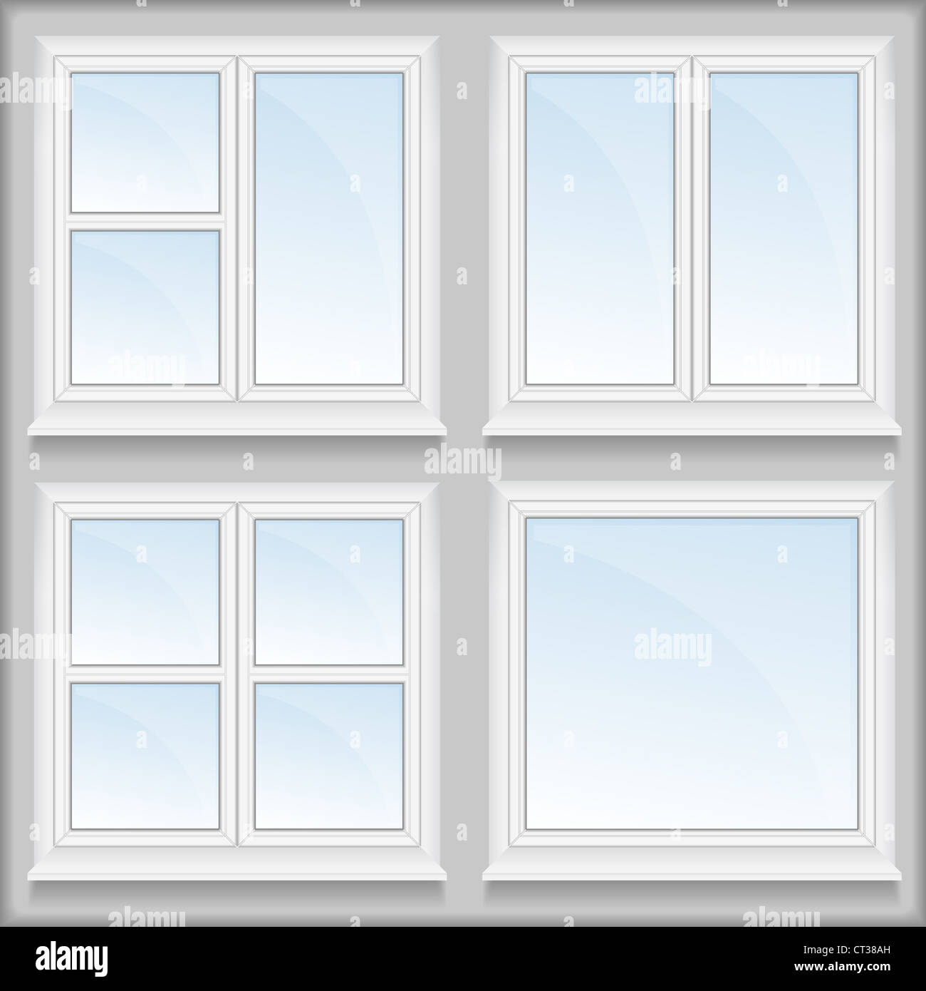 Windows with sills - Stock Image