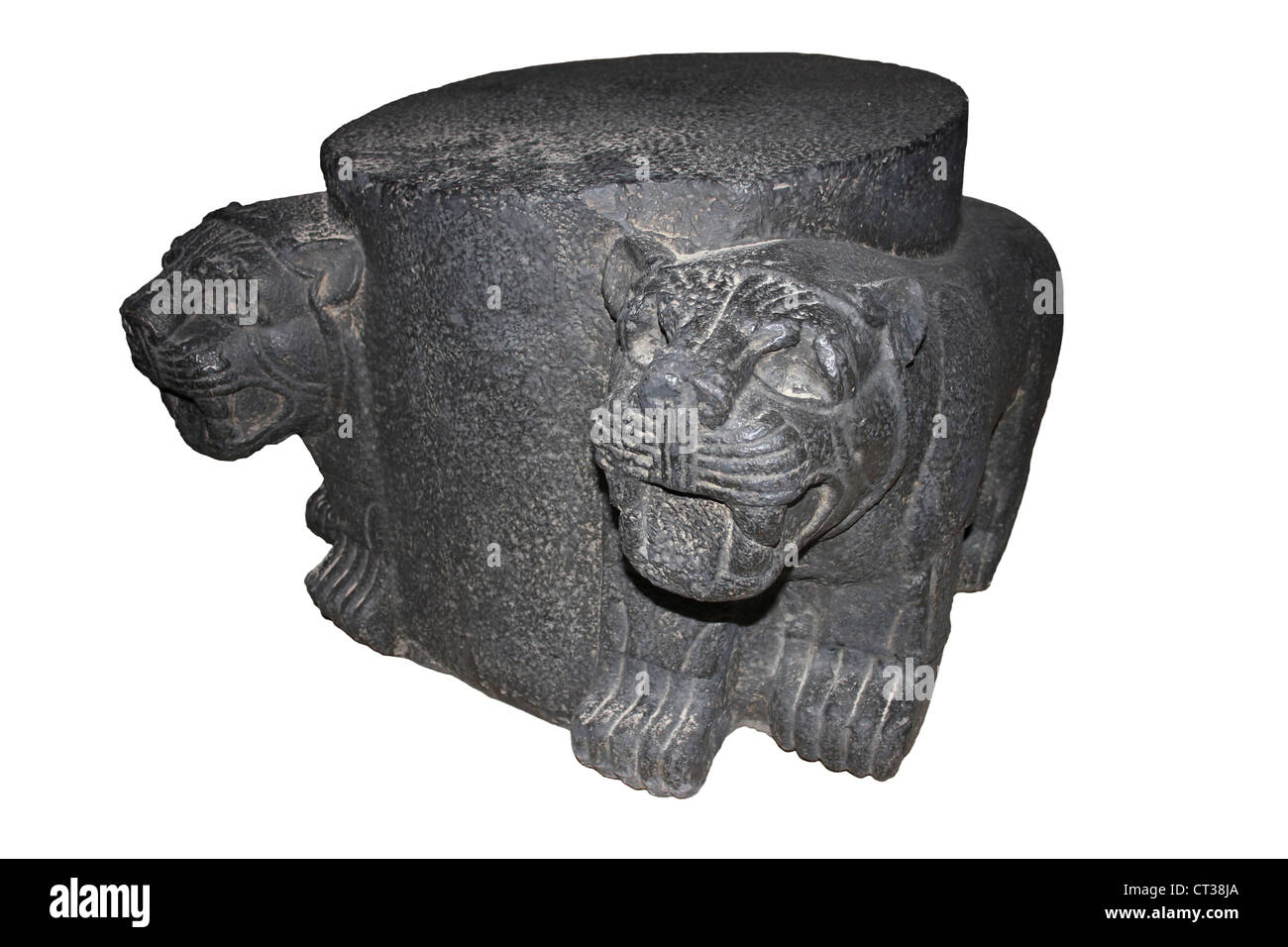 Cast Of Column Base With Two Lions Originally Used As A Ceremonial Entrance To A Temple In The Hittite City Of Carchemish - Stock Image