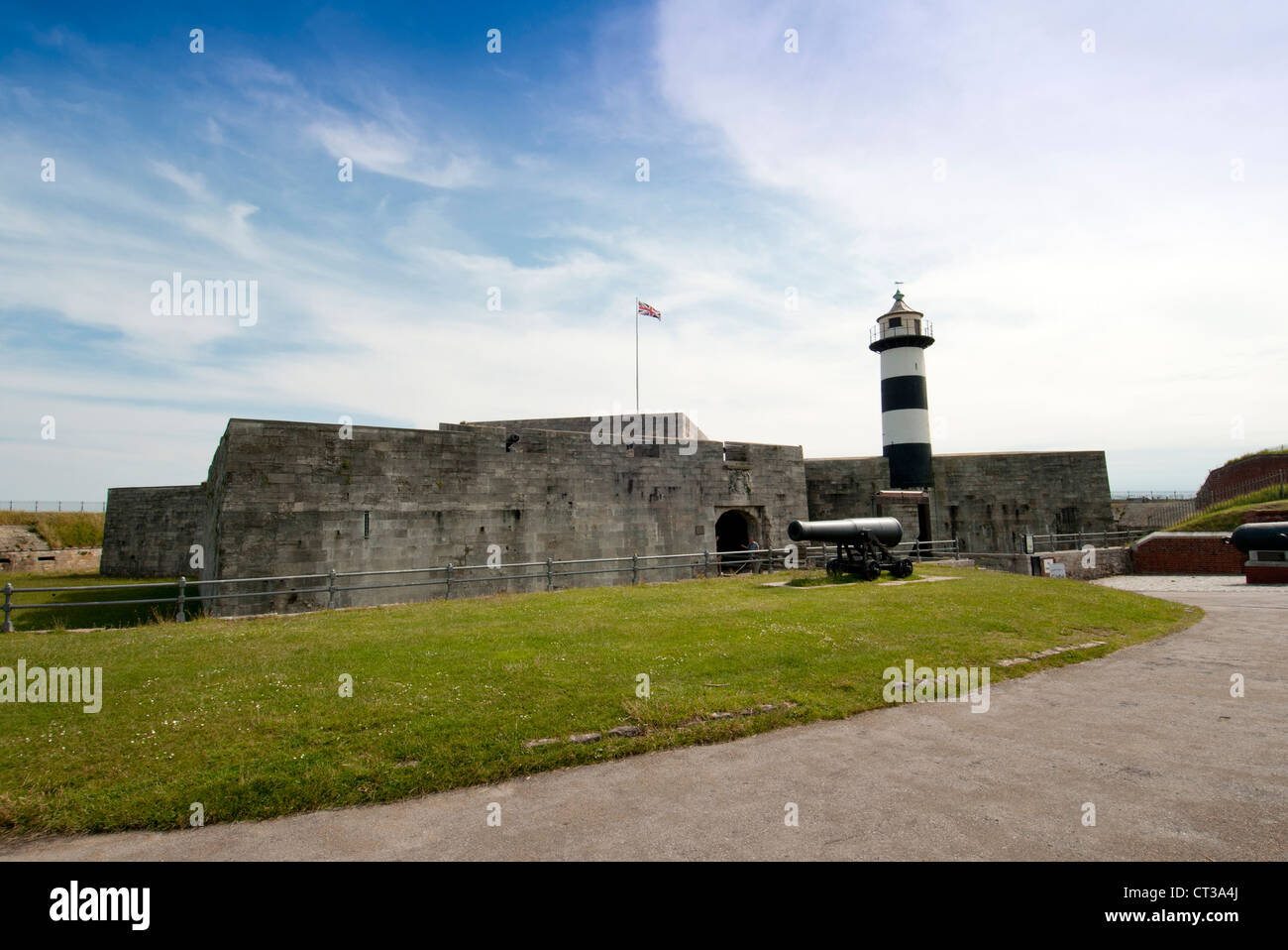 Southsea Castle and lighthouse - Stock Image