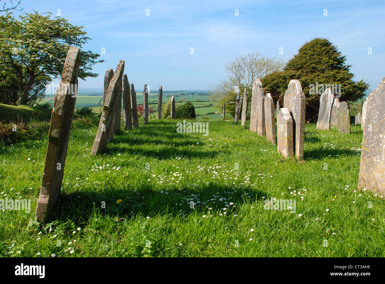 Devon Church graveyard in the rolling hills of the south hams - Stock Image