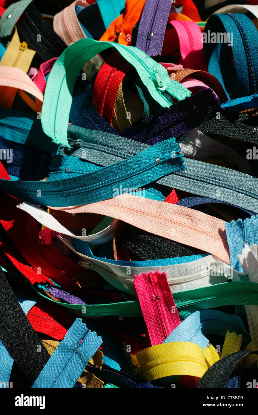 Colorful zippers - Stock Image