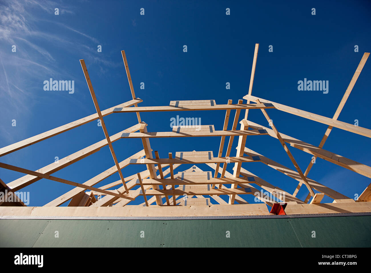 Roof of building under construction - Stock Image