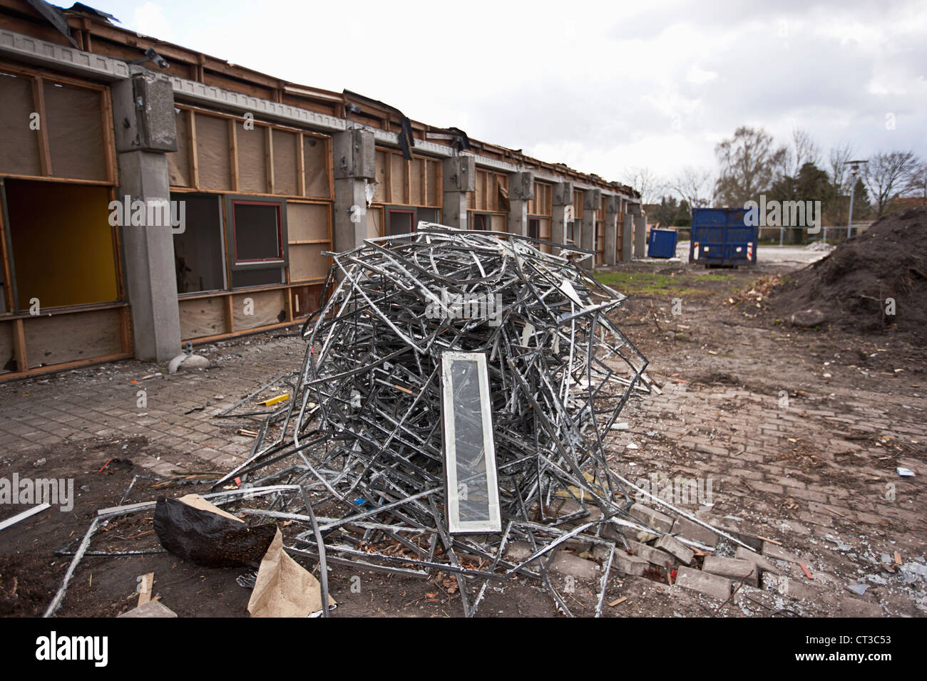 Pile of scrap metal at construction site Stock Photo