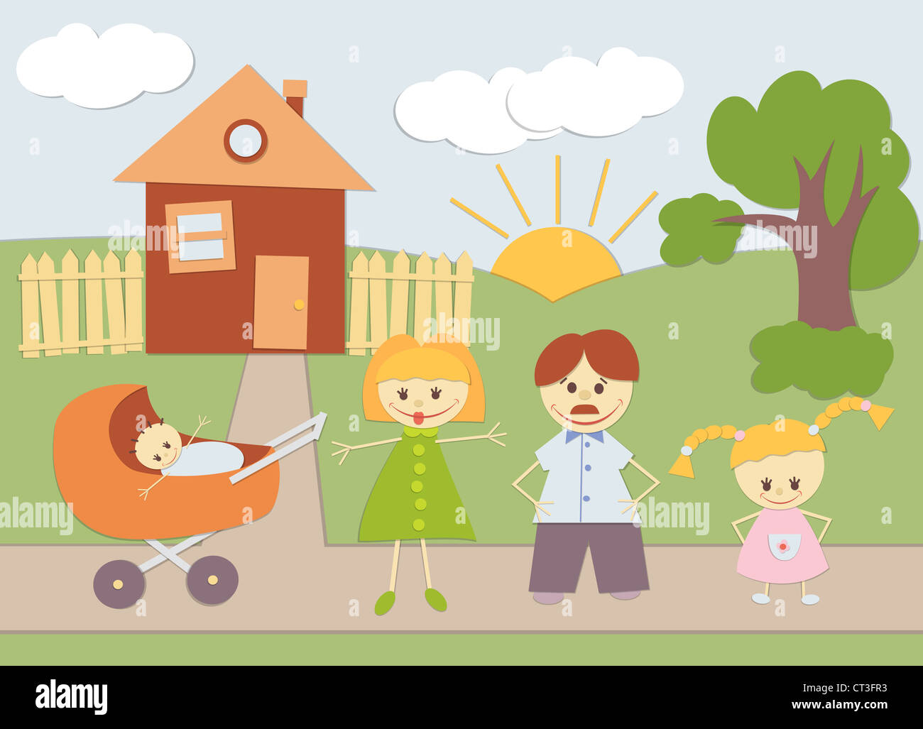 Baby Applique family background at home. - Stock Image