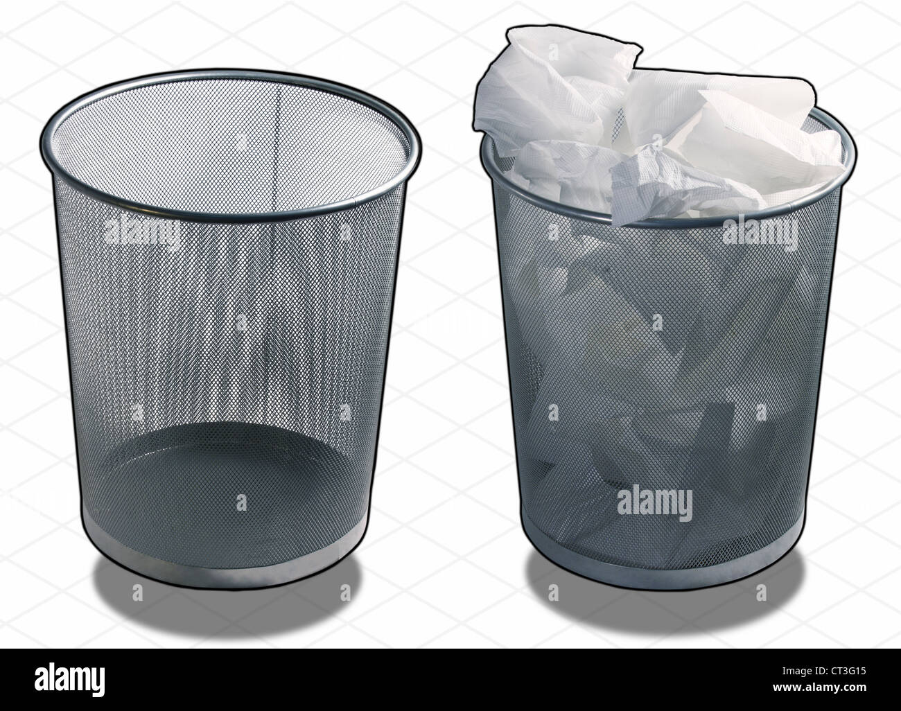 ISOMETRIC PHOTOGRAPH of a Office Wastepaper basket case with CLIPPING PATH included - Stock Image