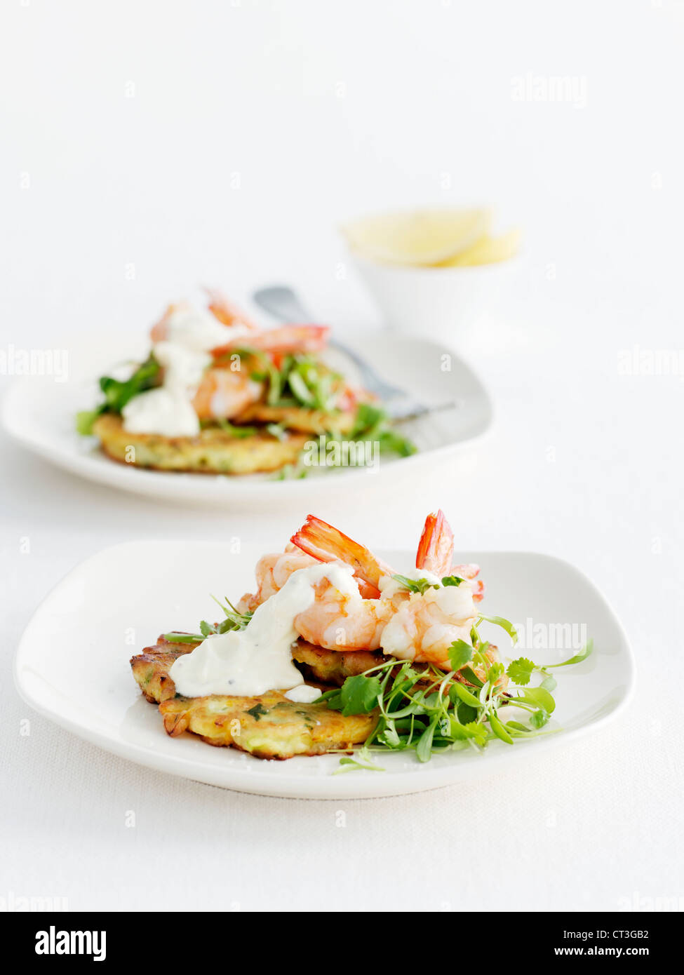 Plate of seafood with salad - Stock Image