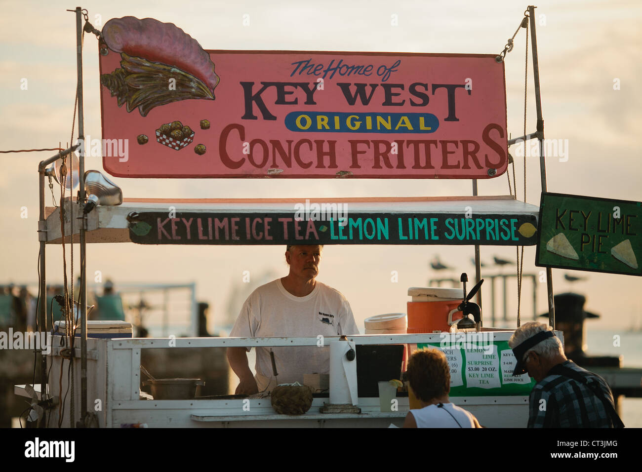 Conch Fritters and key lime pie shack at Mallory Square, Key West, Florida, USA - Stock Image