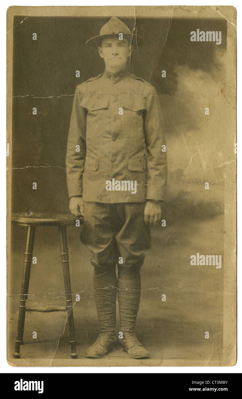 1918 real photo postcard, World War One soldier Merton Stone, son of Lyman T Stone, brother to Herbert L Stone. - Stock Image