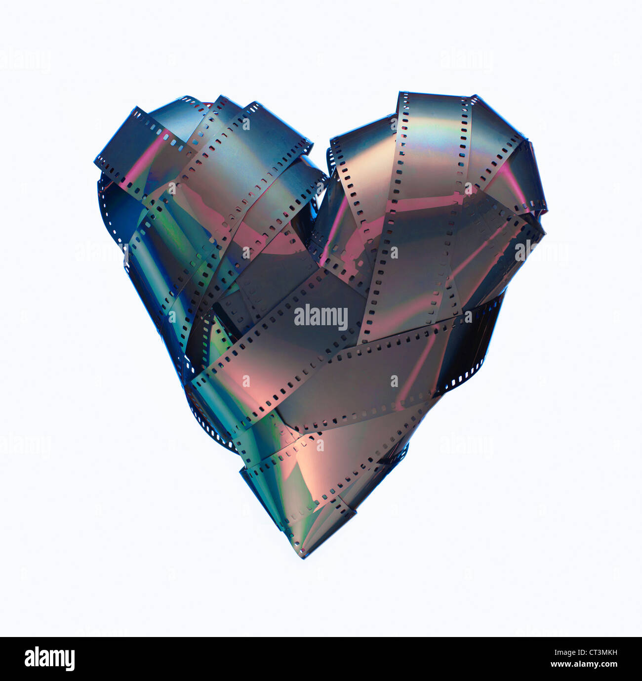 Close up of heart made of 35mm film - Stock Image