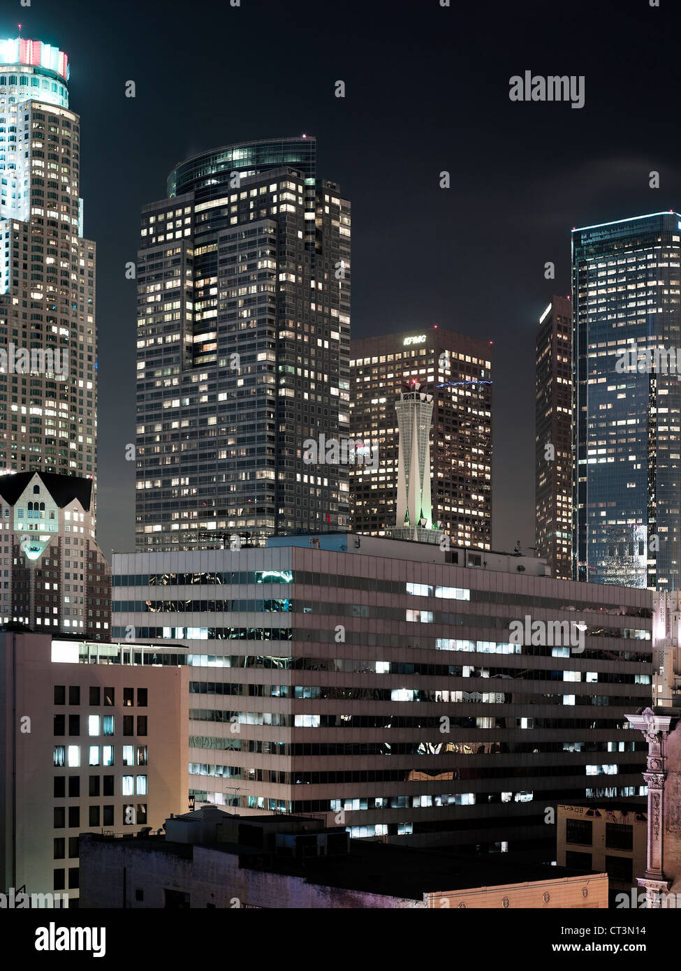 Los Angeles skyscrapers lit up at night - Stock Image
