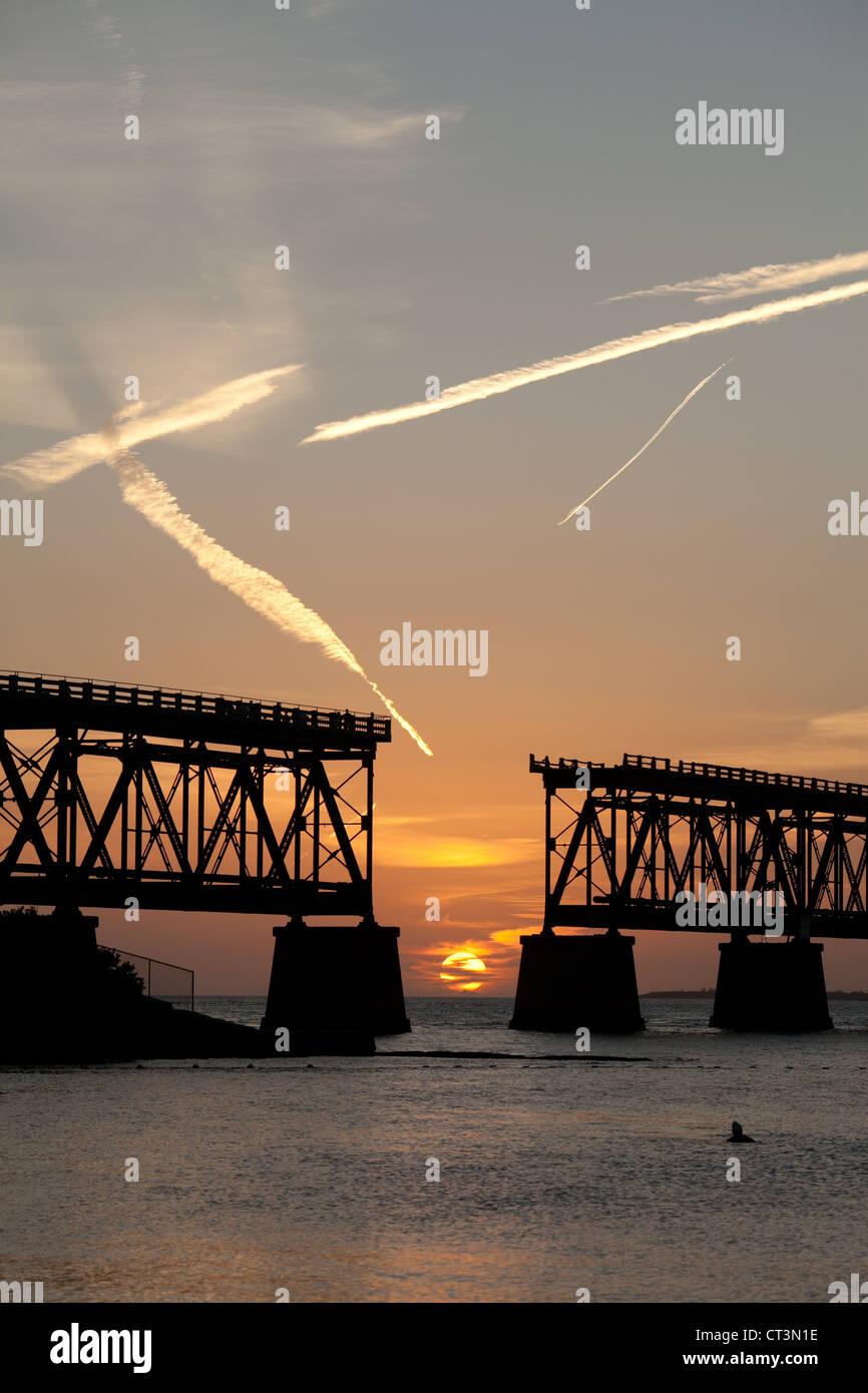 Sunset in the broken bridge at Bahia Honda State Park beach