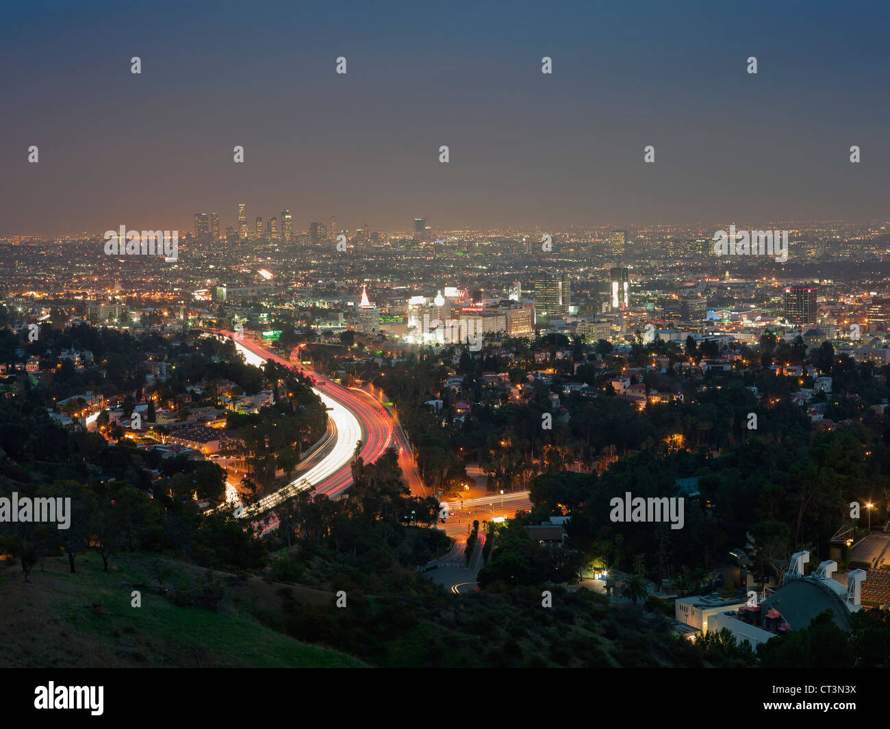 Aerial view of Los Angeles at night - Stock Image