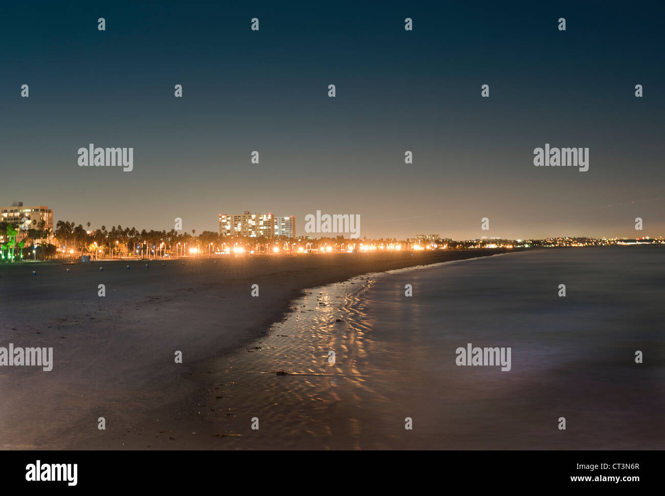 Los Angeles coastline lit up at night - Stock Image