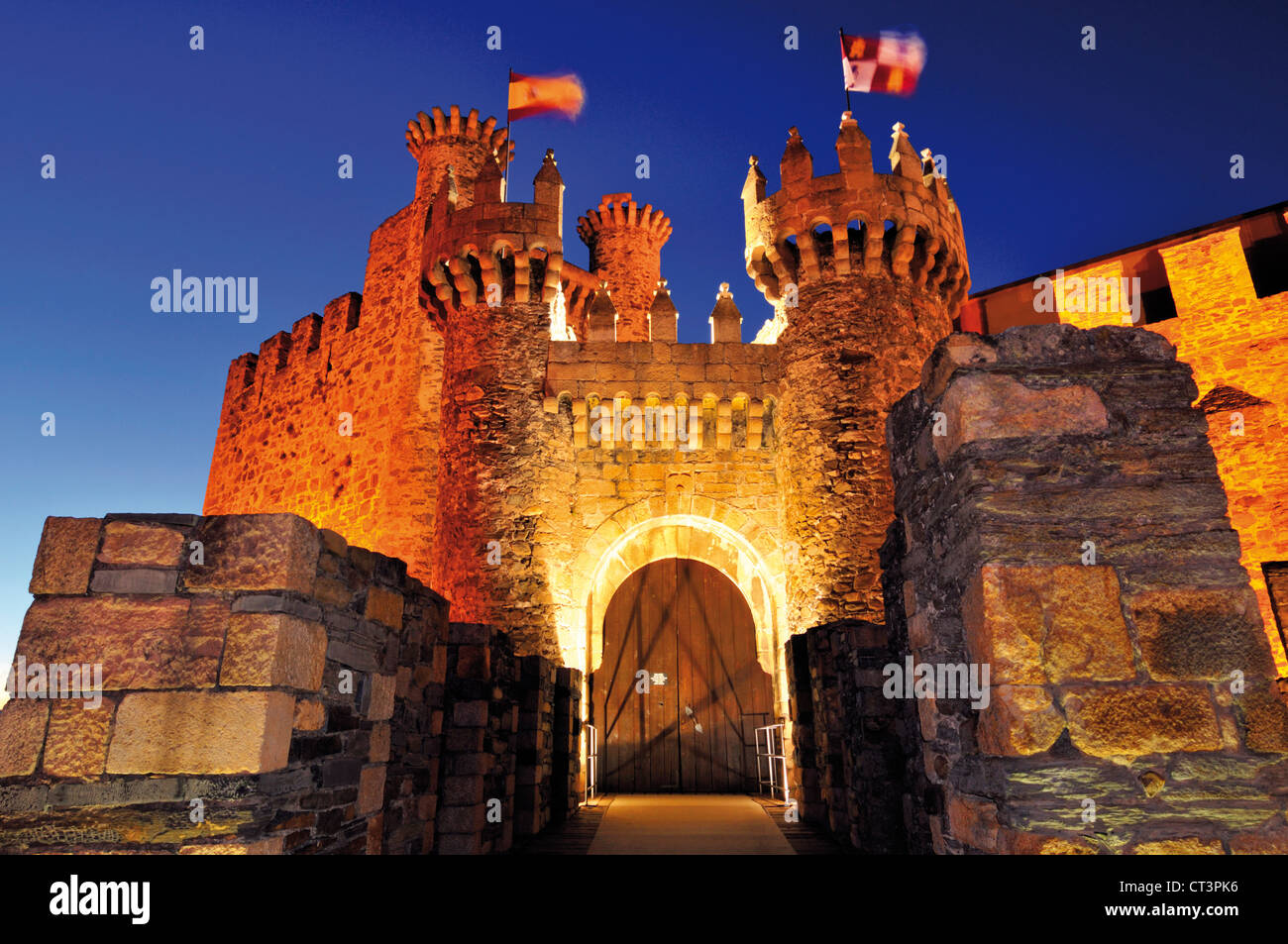 Spain, St. James Way: Entrance of the Order of Temple castle  in Ponferrada - Stock Image