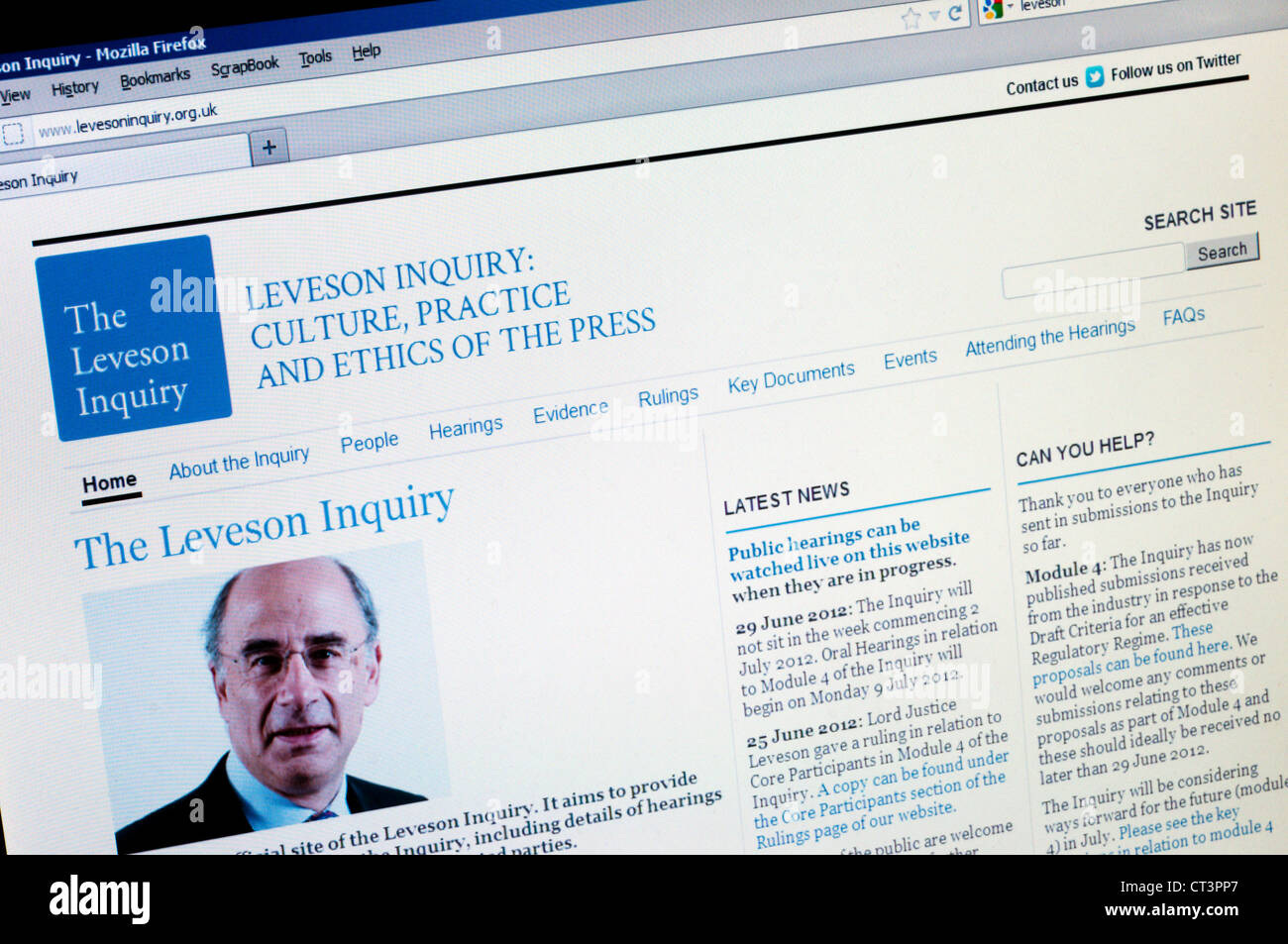 The web site of the Leveson Inquiry into the Culture, Practice and Ethics of the Press. - Stock Image