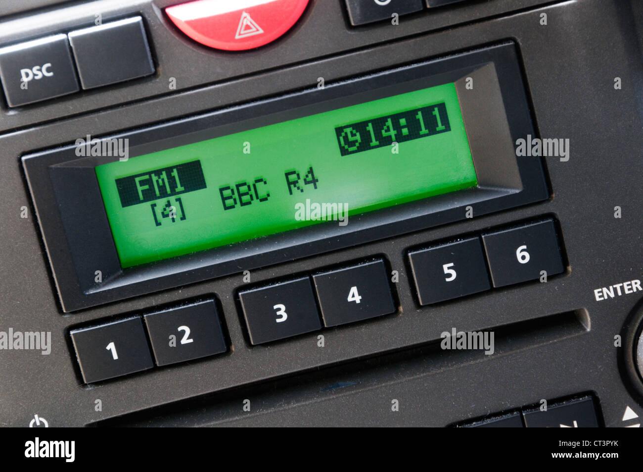BBC Radio 4 display on analogue car radio. - Stock Image