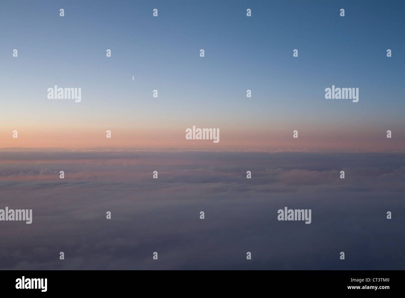 Aerial skyscape at sunset - Stock Image