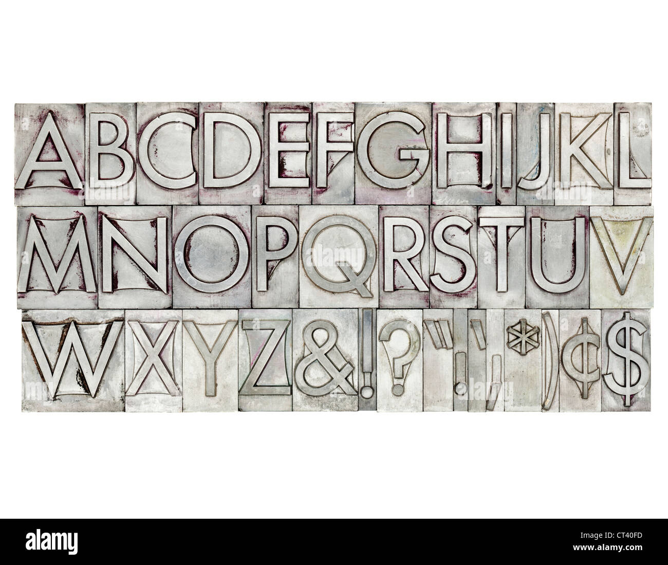 English alphabet, dollar, cent and punctuation signs in vintage metal type - Stock Image