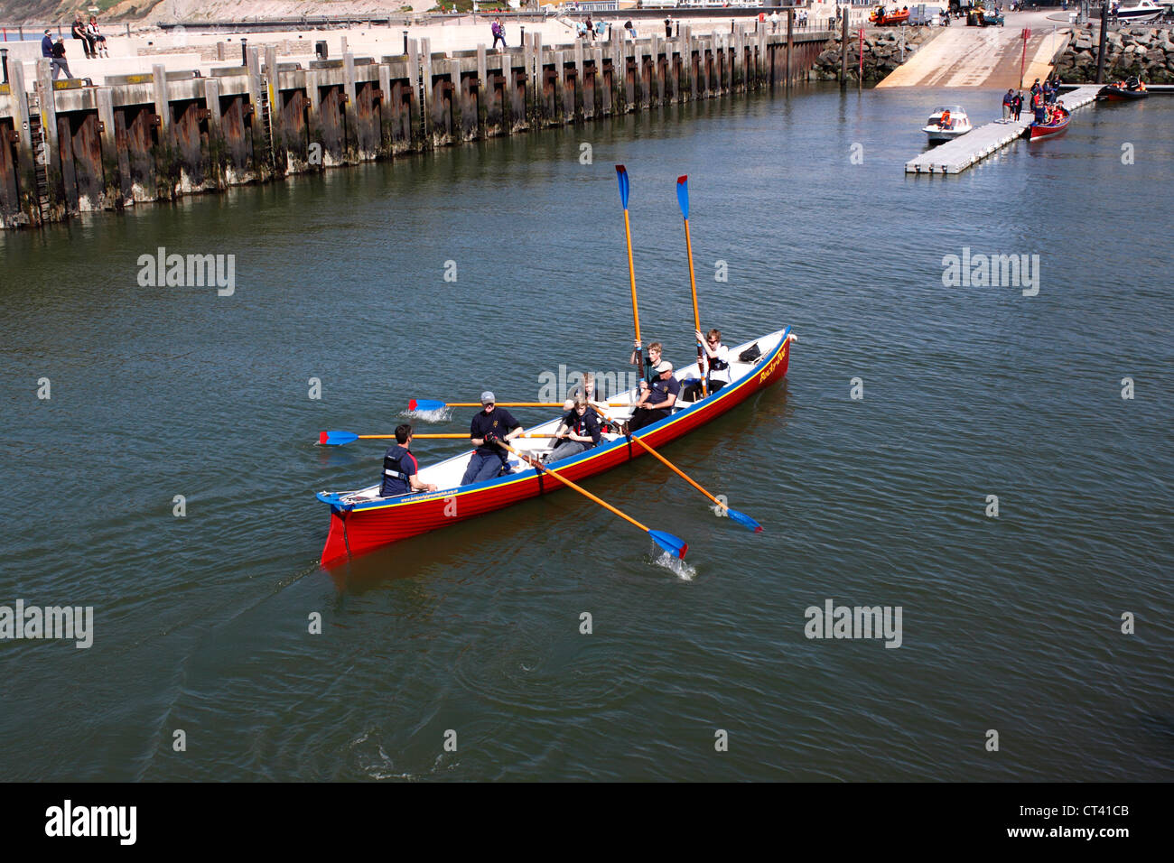 GIG RACING. WEST BAY JURASSIC COAST. DORSET. UK. - Stock Image