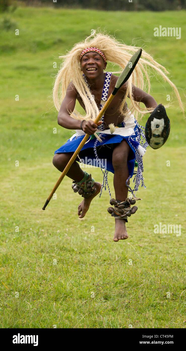 Africa, Rwanda, Volcanoes National Park, Tutsi Dancers, portrait, head dress - Stock Image