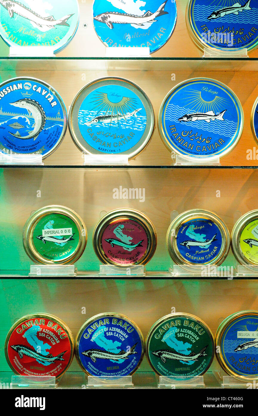 Turkey, Istanbul, Eminoenue, Spice Bazaar, Egyptian Bazaar, Iranian, Russian and Azerbaijan Caspian Caviar for Sales - Stock Image