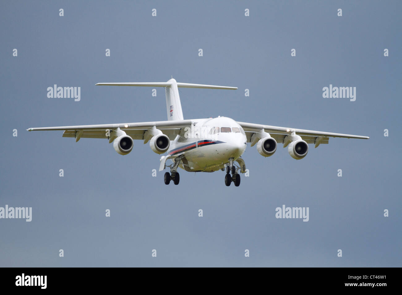 BAe 146 of the RAF Royal Flight on approach to land. RAF Waddington 2012 - Stock Image