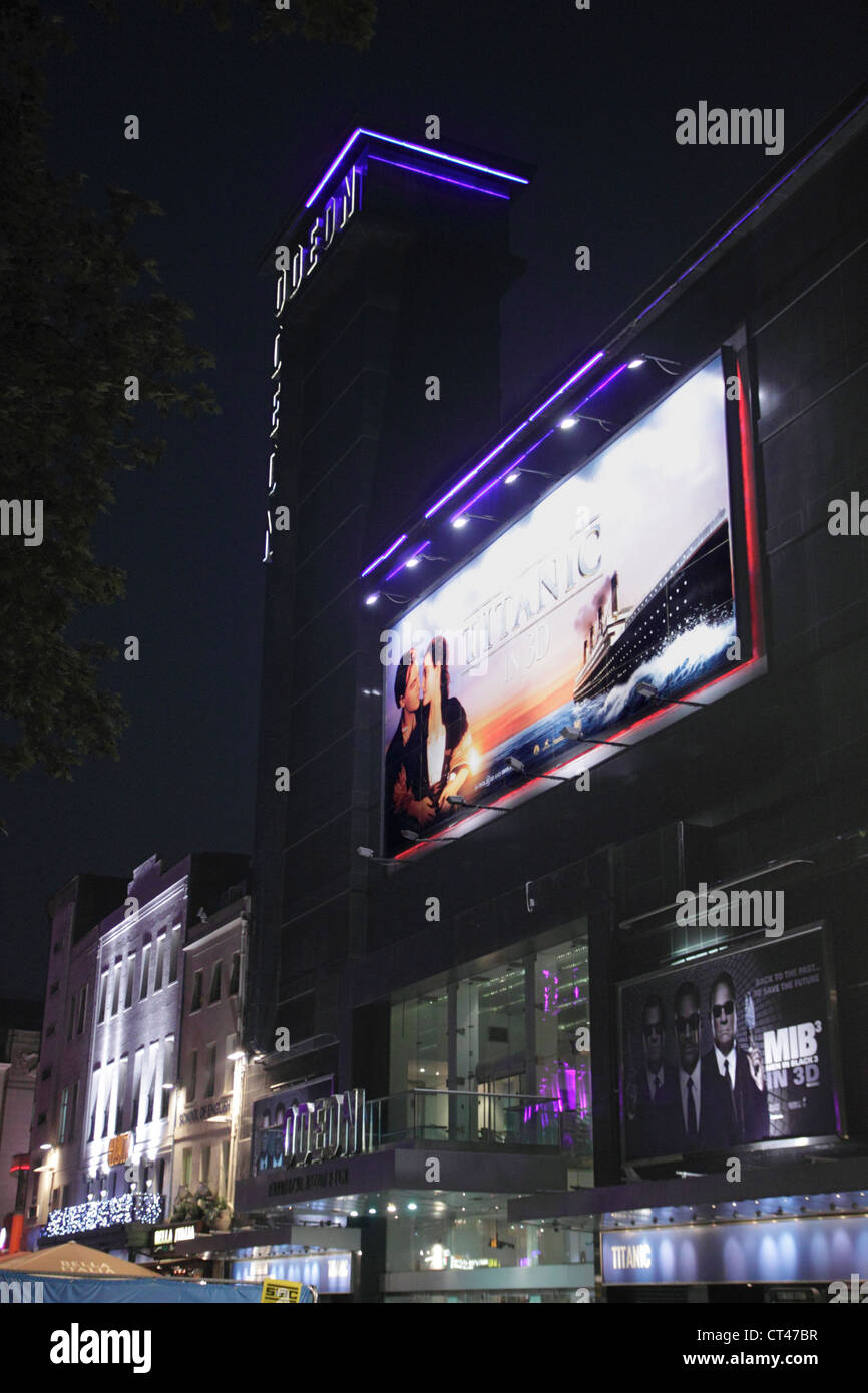 Odeon Leicester Square London at night - Stock Image