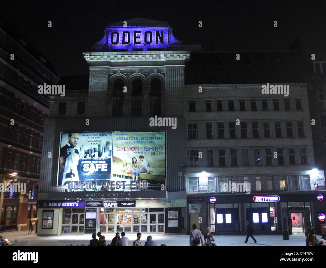 Odeon West End Leicester Square London at night - Stock Image