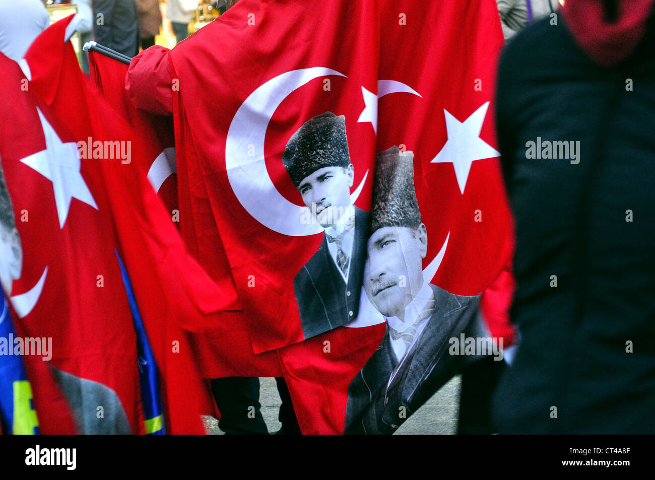 Turkey, Istanbul, Turkish Flag Printed With A Picture Of Ataturk - Stock Image
