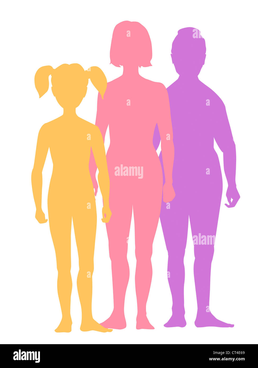 SILHOUETTE OF A FAMILY - Stock Image