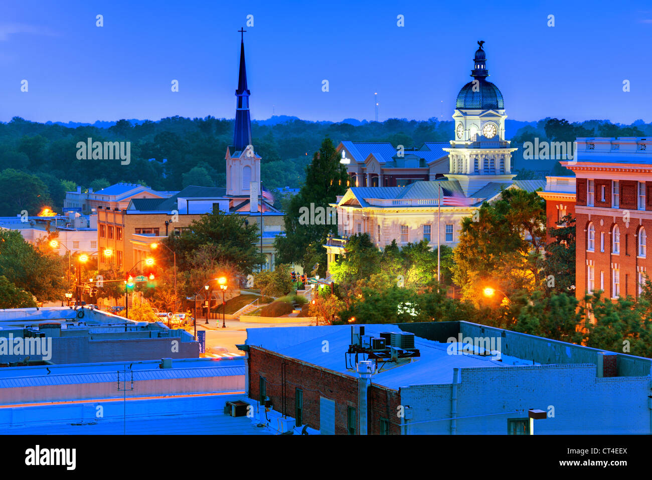 downtown view of athens, georgia, usa - Stock Image