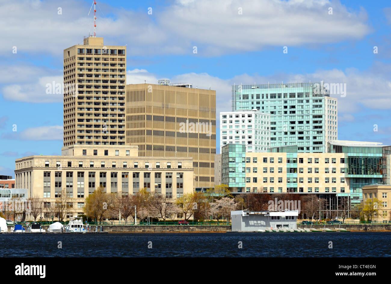 Skyline of Cambridge, Massachusetts from across the Charles River. - Stock Image