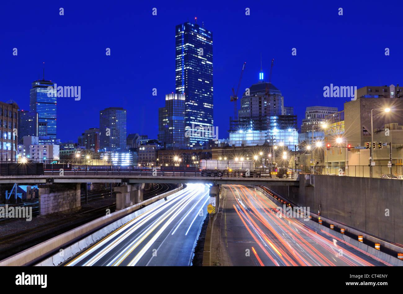 Boston skyline above the Massachusetts Turnpike - Stock Image