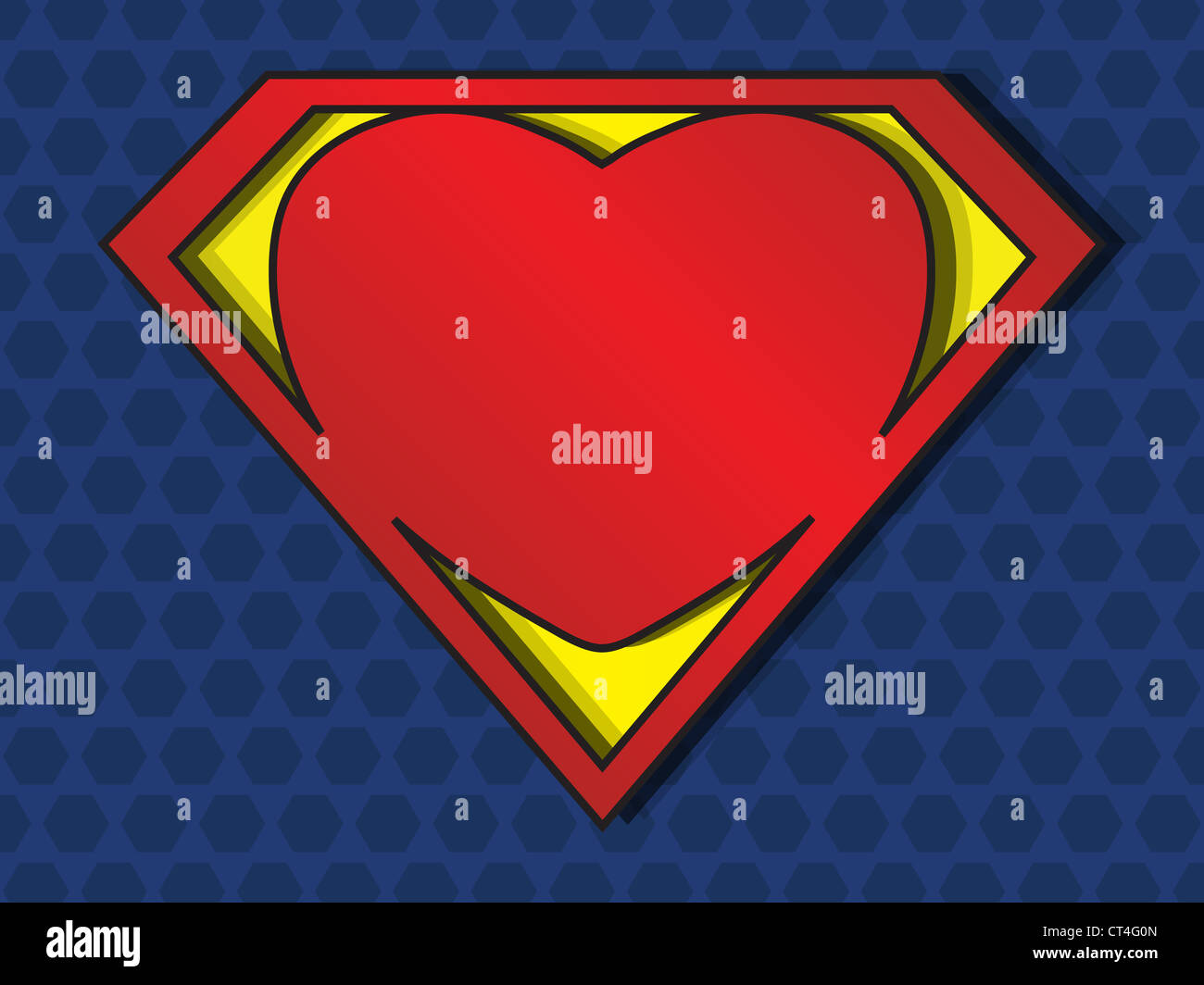 a big red heart shaped like a superhero shield, symbol for strong love - Stock Image