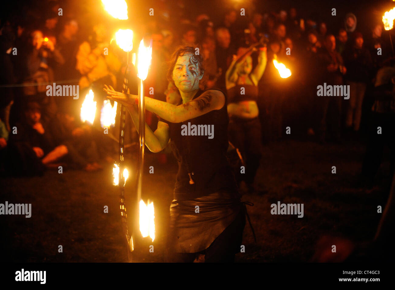 Performers take part in the annual Beltane Fire Festival on Calton Hill, Edinburgh, Scotland. - Stock Image
