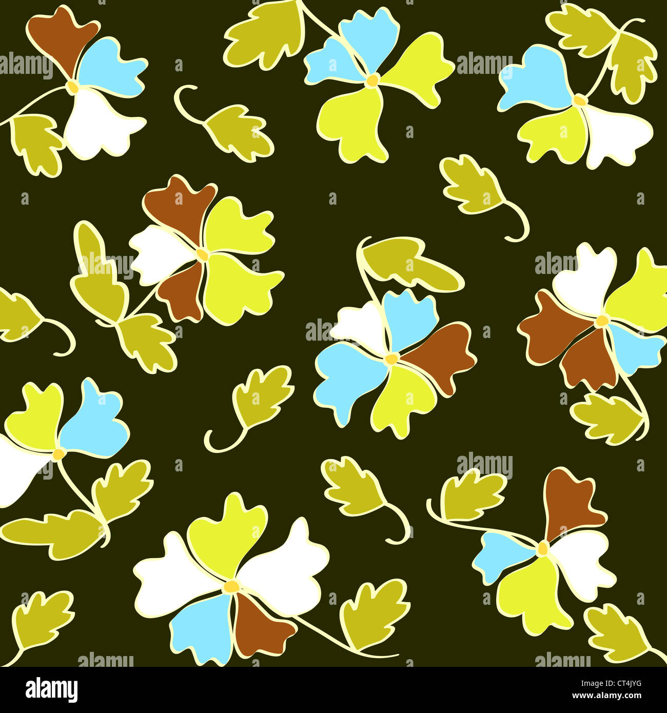 Seamless flowers and leaves pattern on green Stock Photo