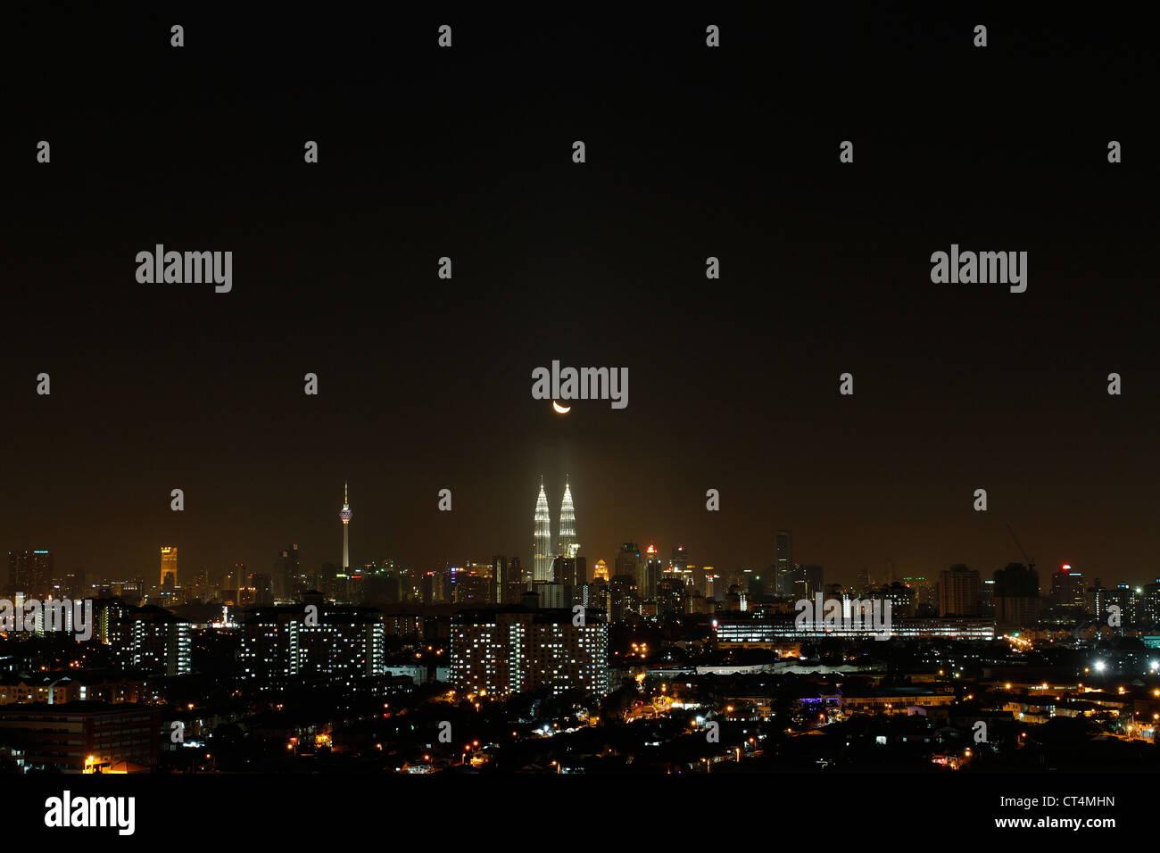 Kuala Lumpur at night, Malaysia. - Stock Image