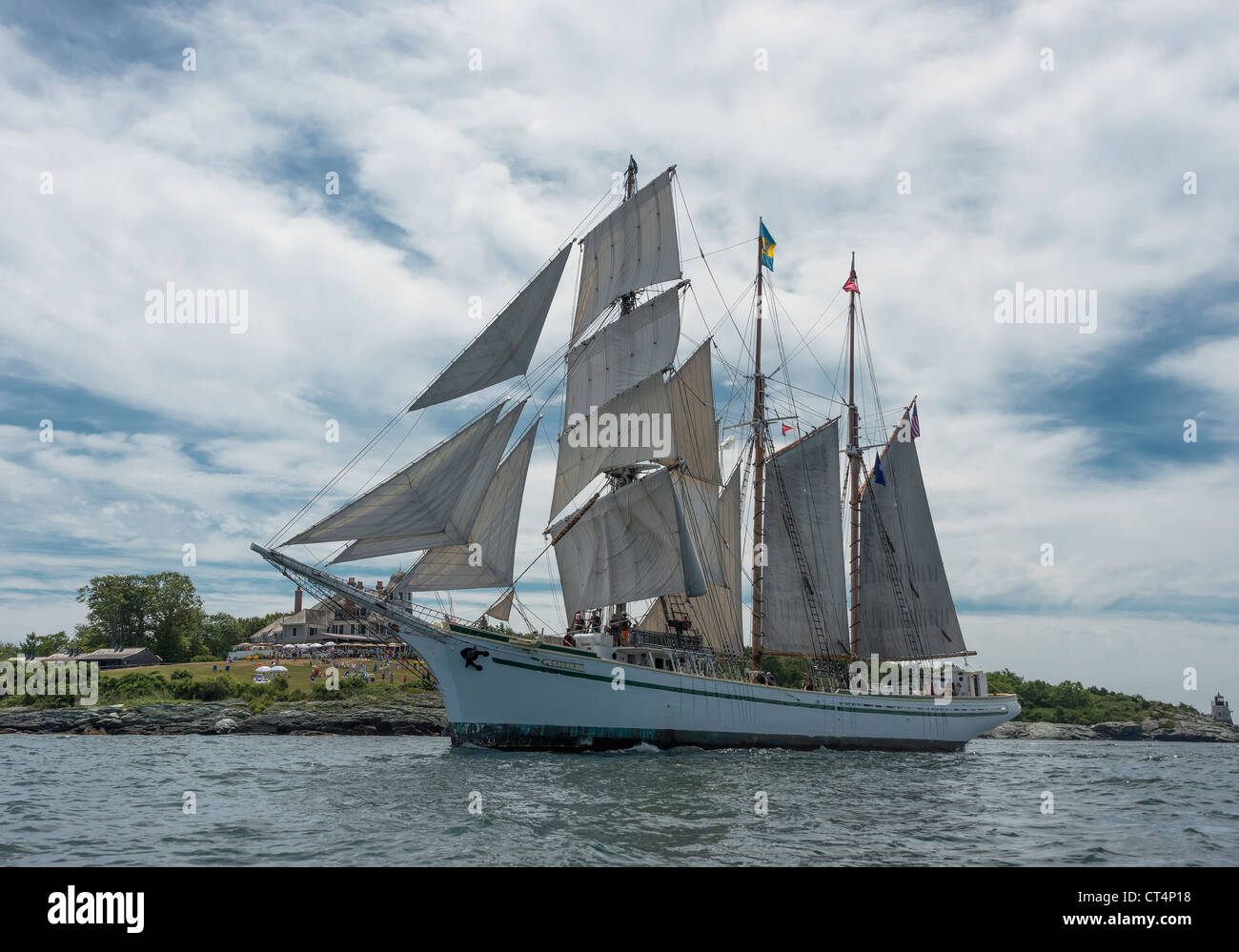 Tall Ship sailing in Newport Rhode Island - Stock Image