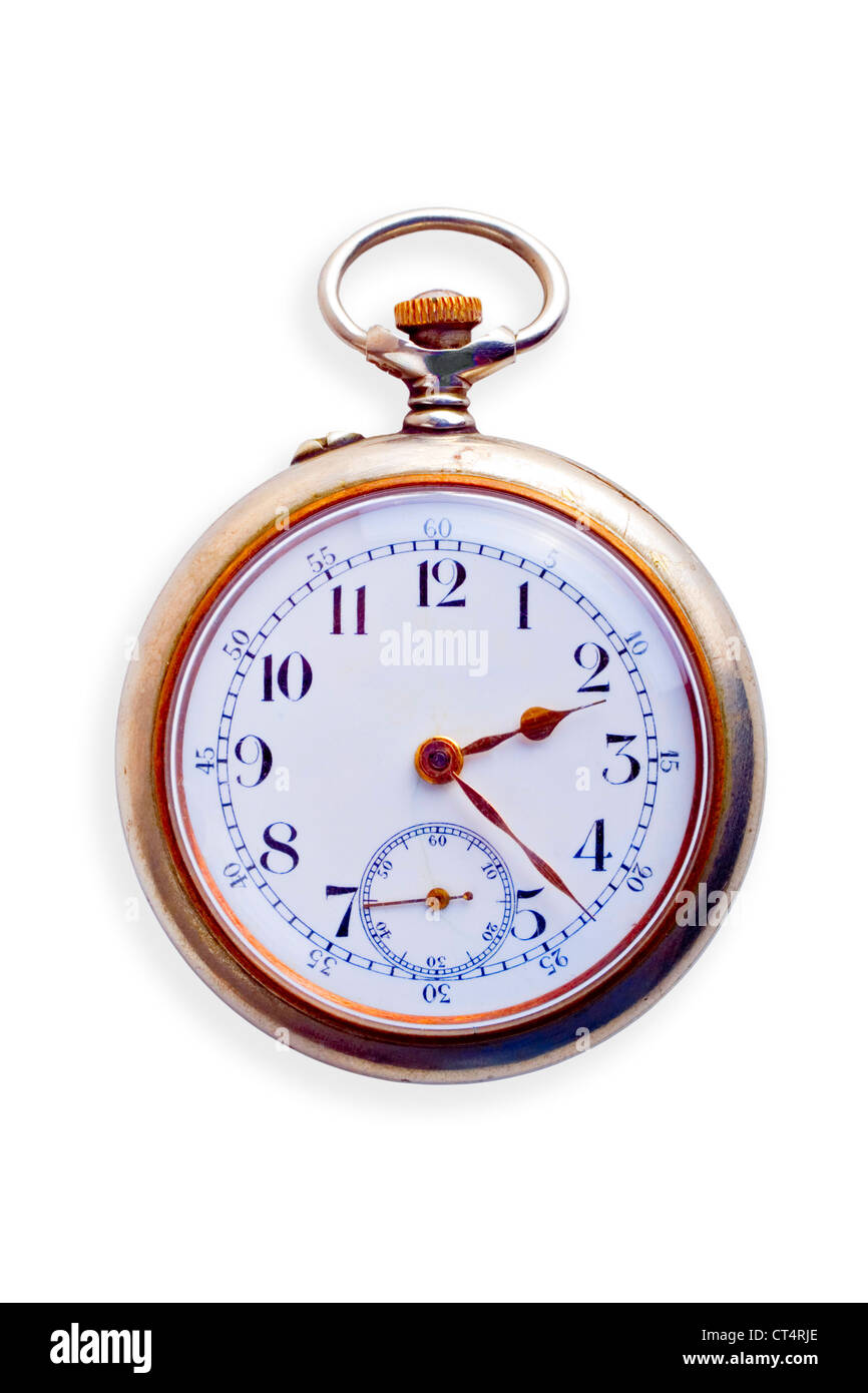 19th Century pocket watch, showing signs of age, isolated on white. Concepts of nostalgia, sense of time,ageing,time - Stock Image