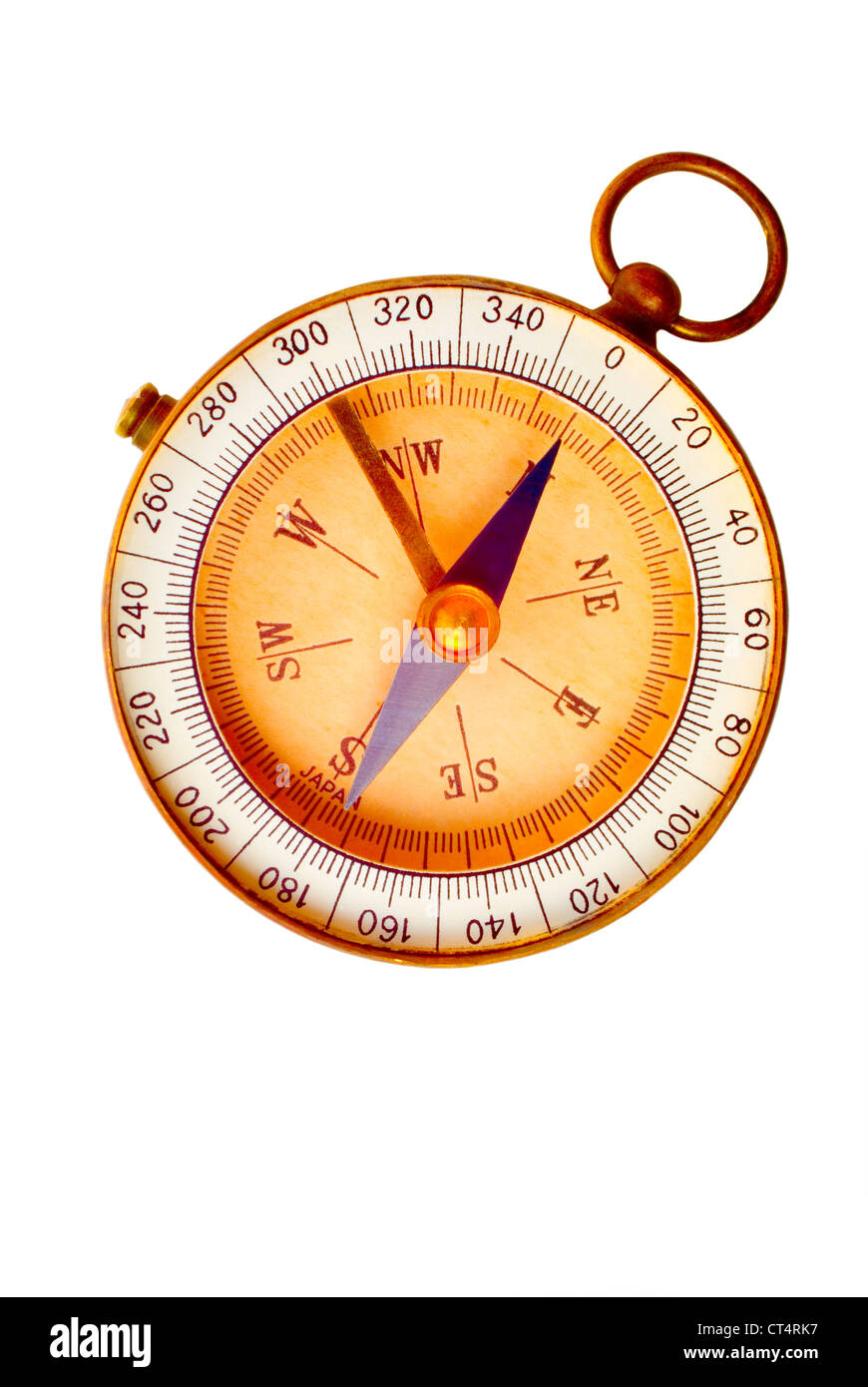Aged compass isolated on white background. Concepts of discovery,  exploration navigation, direction.